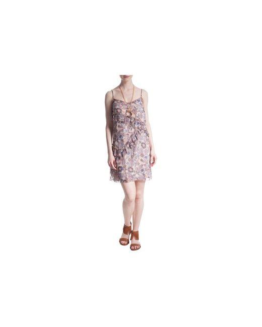 MOTIVI | Женское Чёрное Платье В Цветочек С Рюшами
