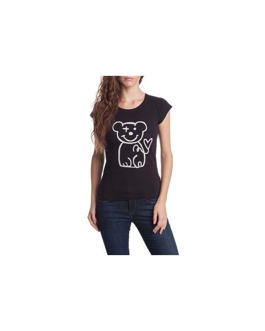 MOTIVI | Женская Чёрная Футболка С Набивным Рисунком Медвежонок.