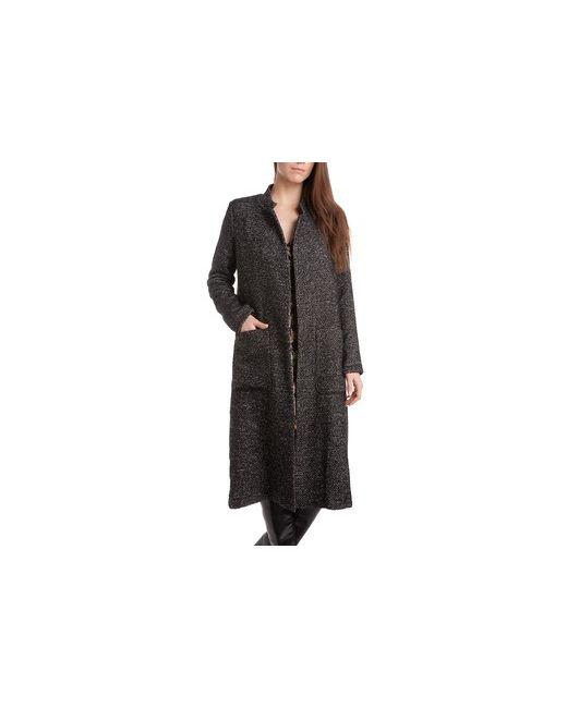 MOTIVI | Женское Чёрное Длинное Пальто Без Застежки