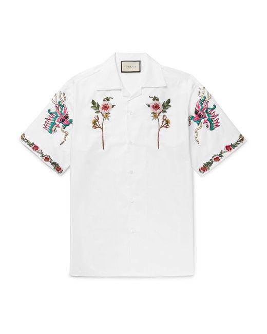 85490af37e2 Мужское Белый Camp-Collar Embroide Cotton Oxford Shirt Gucci 8953227042