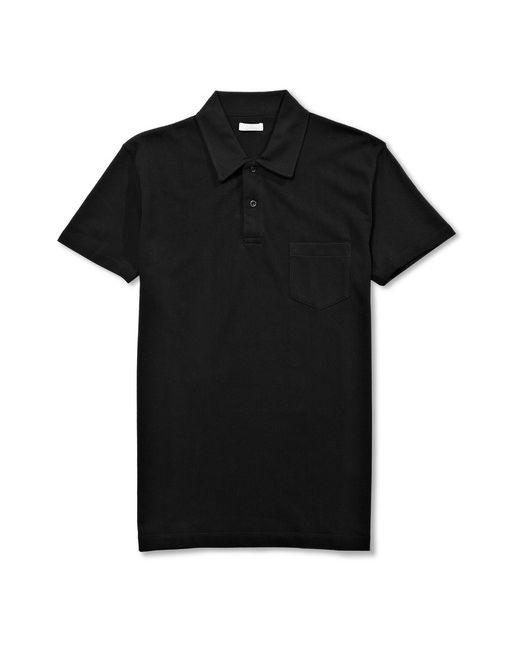Sunspel | Riviera Cotton-Mesh Polo Shirt Black