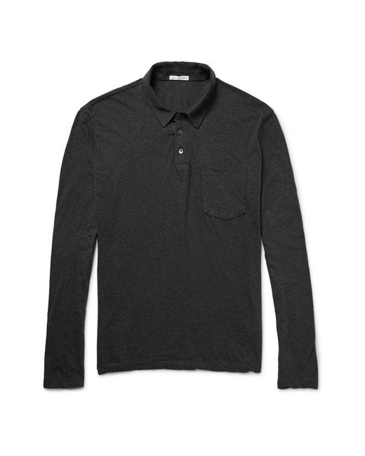 James Perse | Mélange Cotton-Jersey Polo Shirt Gray