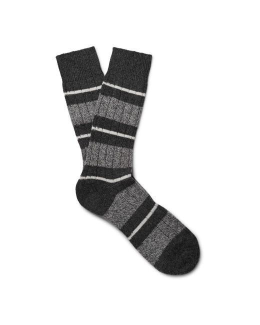 PANTHERELLA | Charcoal Pantherea Apsey Striped Cashmere-Bend Socks Charcoa