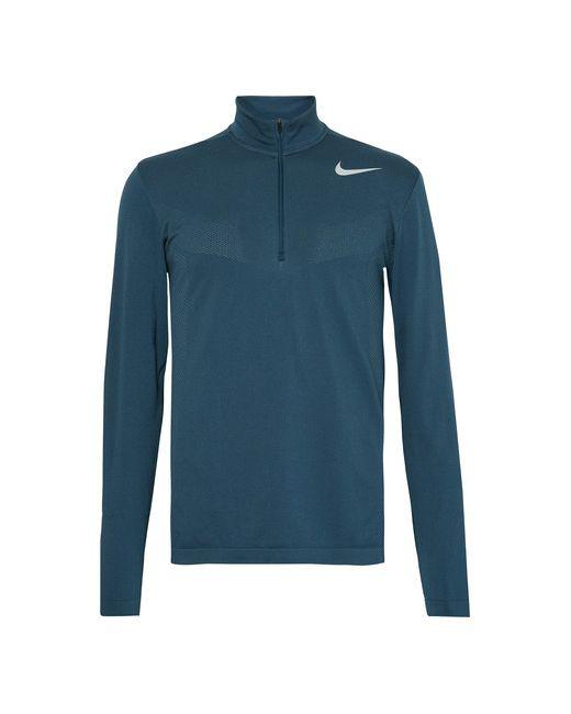 Nike Golf   Teal Panelled Dri-Fit Mesh Half-Zip Golf Top