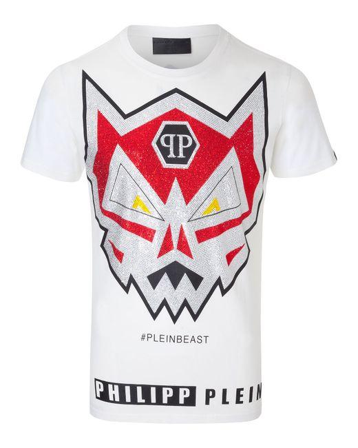 Philipp Plein   Белый T-Shirt Angry Monster