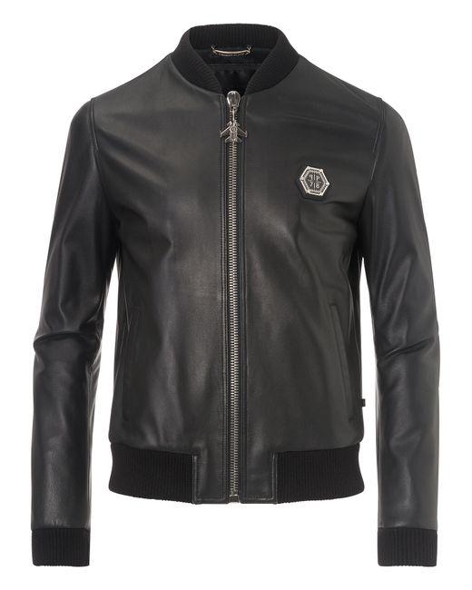 Philipp Plein   Чёрный Leather Jacket Castlegar
