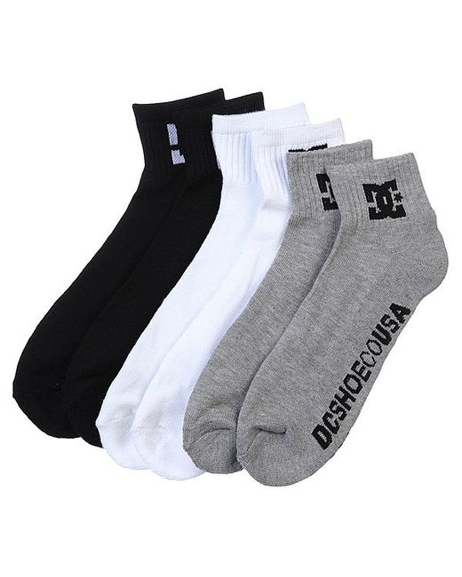 Dcshoes | Мужские Чёрные Носки Средние Dc 3pk Basic Logo Multi