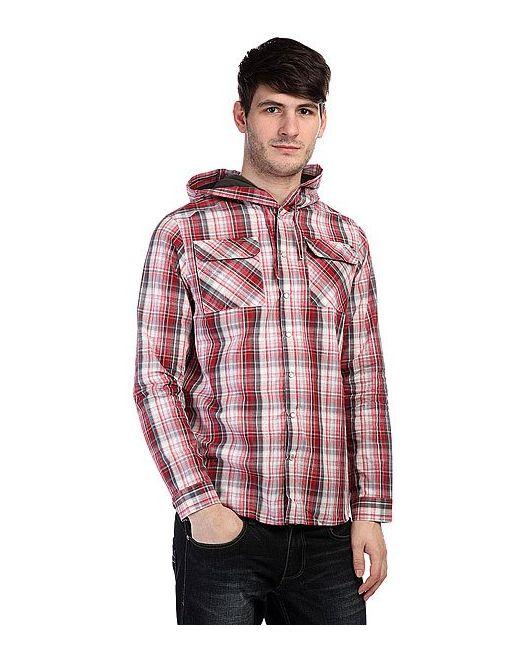Circa   Мужская Красная Рубашка В Клетку Motor Ls Hooded Woven