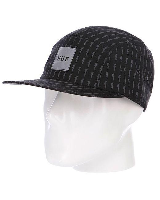 Huf | Мужская Чёрная Бейсболка Пятипанелька Thunder Bolt Box Volley Black/Grey