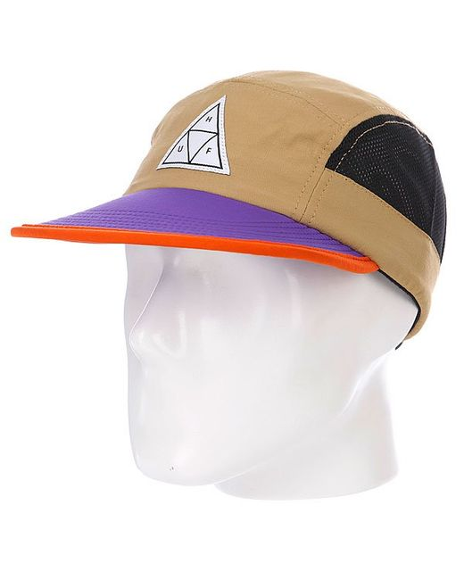 Huf | Мужская Бежевая Бейсболка Пятипанелька Scout Volley Tan/Purple