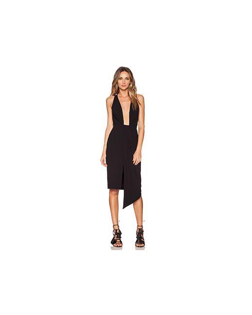 Nicholas | Женское Чёрное Платье Со Сборками И Глубоким V-Образным Вырезом