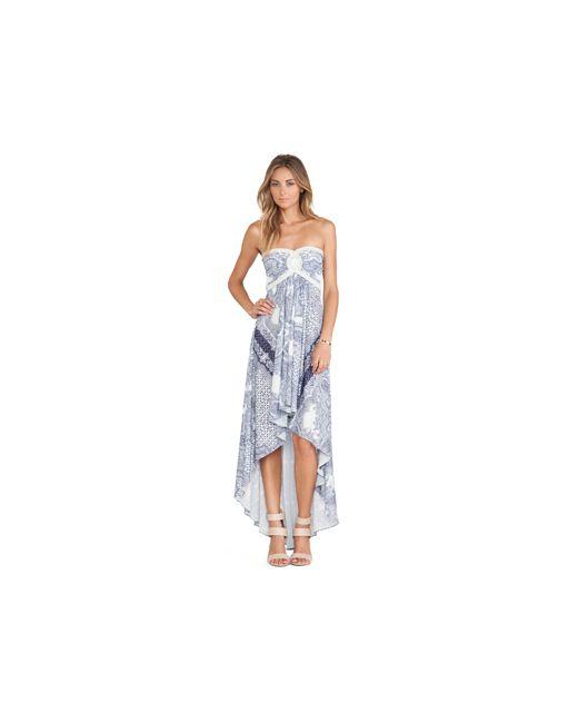 Sky   Женское Синее Платье С Асимметричным Подолом Jda
