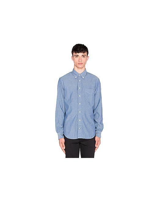 Gitman Vintage | Мужская Синяя Рубашка С Застёжкой На Пуговицах