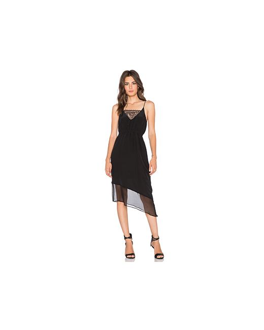 Heather   Женское Чёрное Платье Майка На Бретелях Asymmetrical Silk Lace