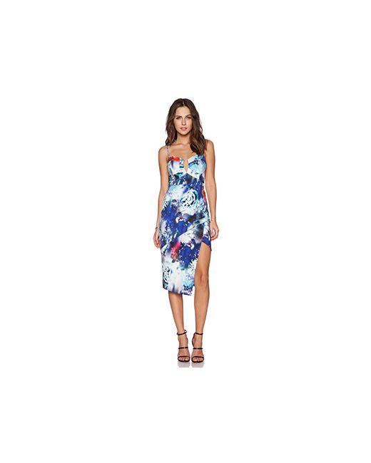 BARDOT   Женское Синее Ярусное Платье С Цветочным Рисунком