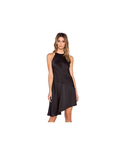 Halston Heritage | Женское Чёрное Платье С Высоким Горлом Asymmetric