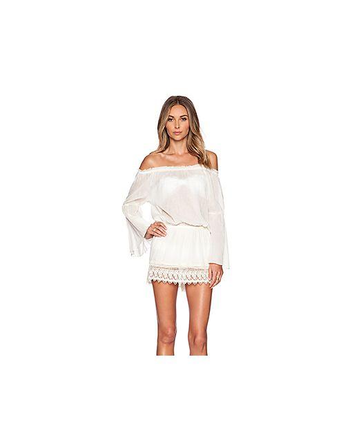 Vix Swimwear | Женские Кремовые Мини Платье С Приспущенными Плечами