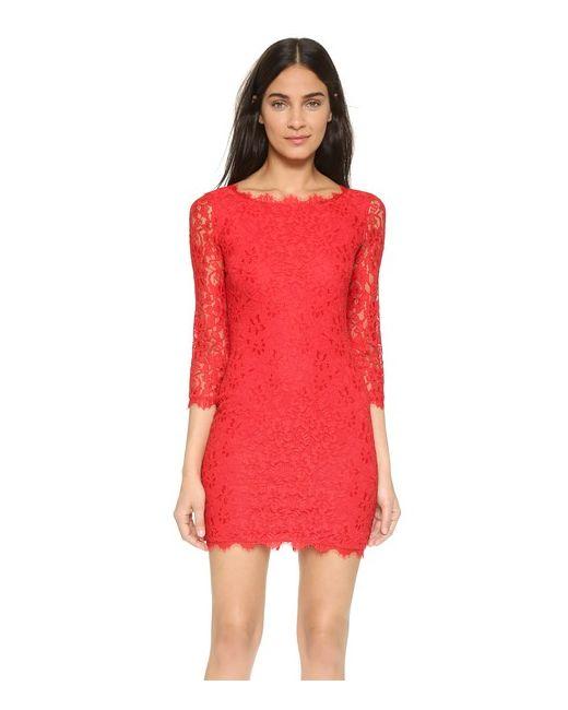 Diane Von Furstenberg   Женское Сушеный Томат Кружевное Платье Zarita