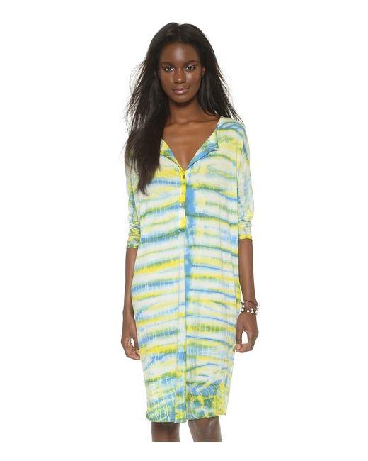 Raquel Allegra | Женское Голубое Комбинированное Платье С Передней Застежкой И Длинными