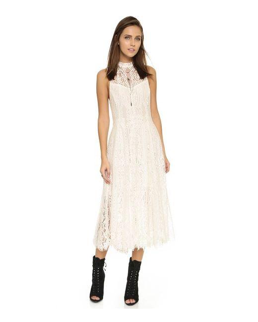 Free People | Женское Золотое Трапециевидное Кружевное Миди-Платье Angel Rays