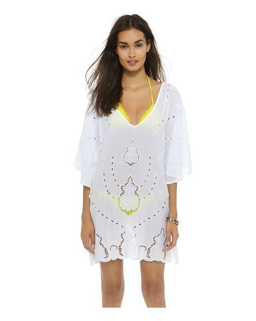 Vix Swimwear | Женский Белый Восточный Халат С Вышивкой И V-Образным Вырезом