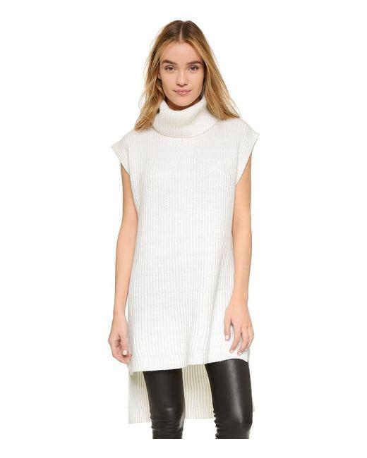 DKNY | Женская Белая Рубчатая Туника Без Рукавов С Воротником Под