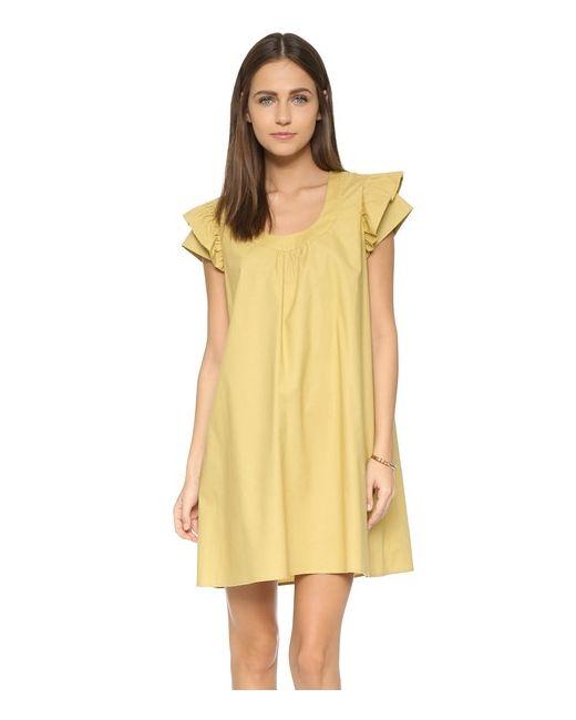Cynthia Rowley | Женское Зелёное Платье С Широкими Рукавами