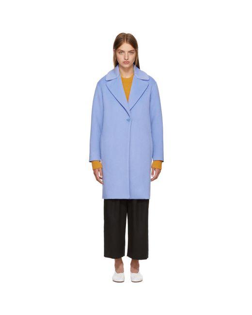 Cedric Charlier   Голубой Wool Coat