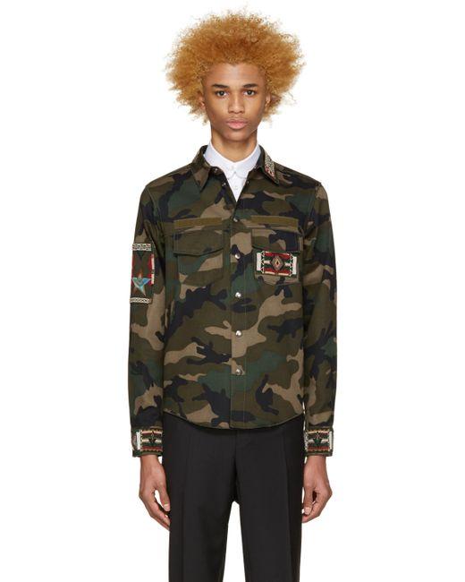 Valentino | F00 Army Green Beaded Camo Jacket