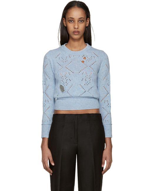 Raf Simons   Синий Blue Wool Distressed Sweater