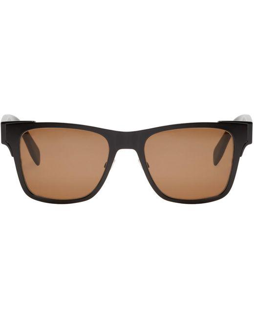 Alexander McQueen | Чёрный Black Metal Square Sunglasses