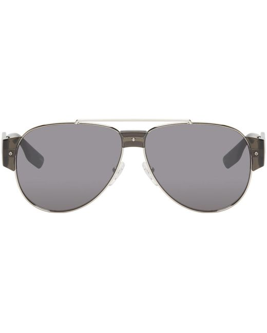 Mcq Alexander Mcqueen   Серебристый Silver Aviator Sunglasses