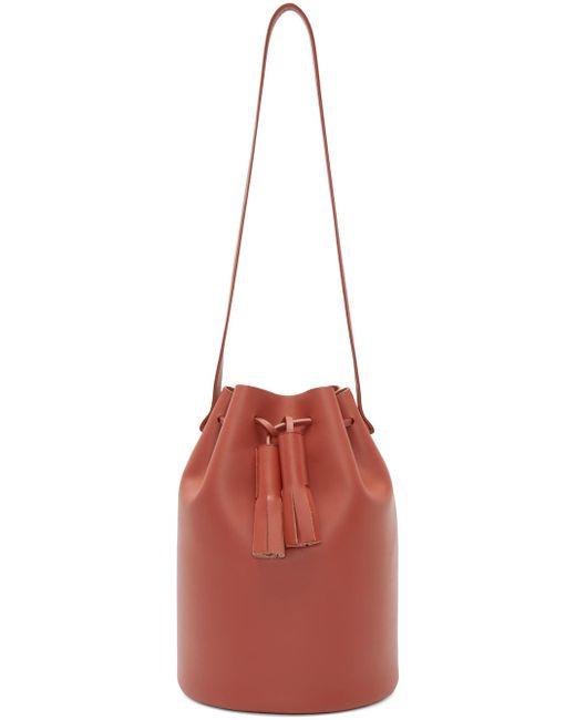 Building Block | Brick Red Leather Bucket Bag