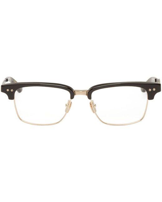 Dita | Blk-Gld-52 Black And Gold Horn Rim Statesman-Three Glasses