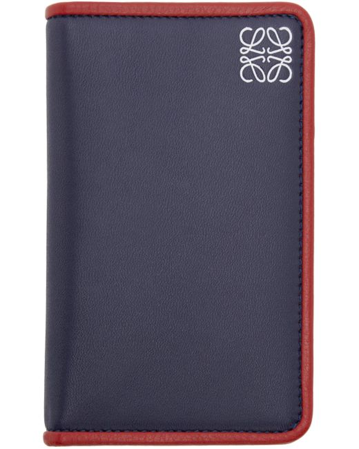 Loewe | 5455 Navy & #47; Rust Navy Leather Card Holder