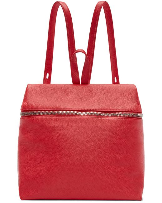 KARA | 6001 Poppy Red Pebbled Leather Backpack