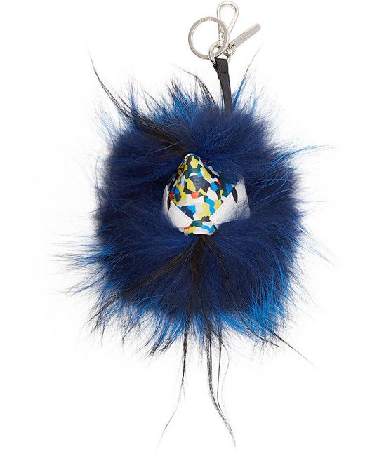 Fendi | 82y Multi Multicolor Leather And Fur Monster Bug Keychain