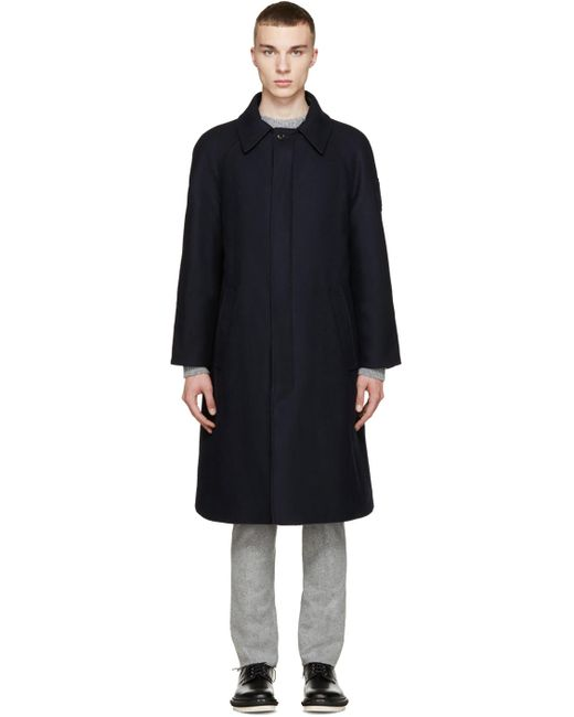 Moncler | 742 Navy Navy Wool And Quilted Down Reversible Coat