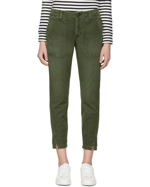 AMO | Washed Army Green Army Twist Trousers