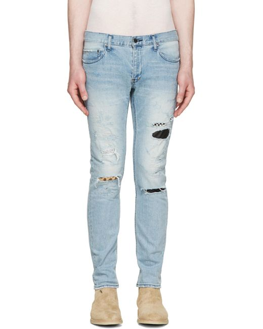 Diet Butcher Slim Skin   Синий Blue Skinny Damaged Repair Jeans