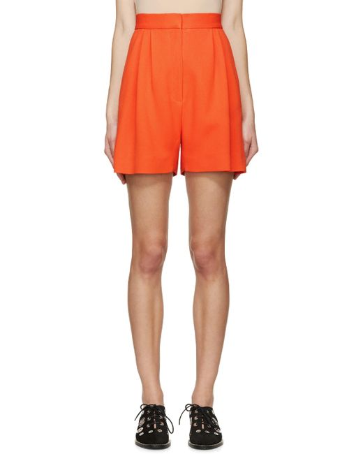 Mary Katrantzou | Cherry Tomato Orange Pleated High-Rise Shorts