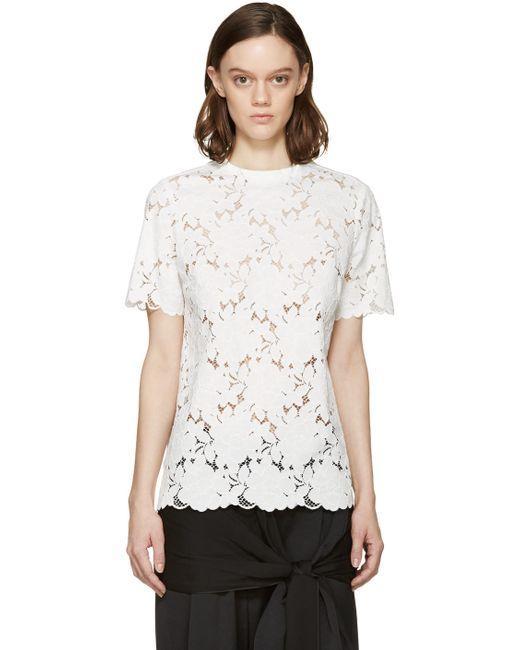 Lanvin   Белый White Floral Lace Blouse