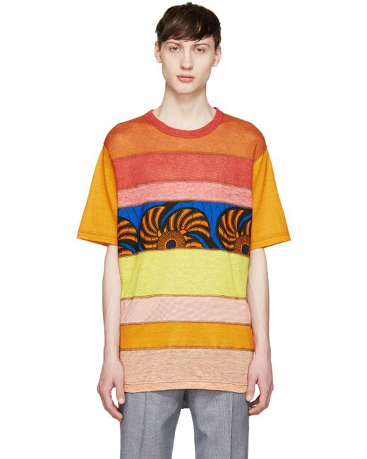 Junya Watanabe | Оранжевый Red And Orange Mesh Panel T-Shirt