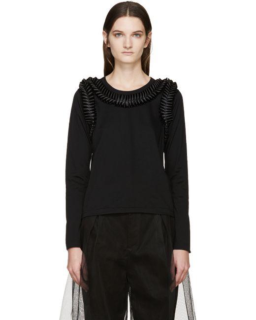 Noir Kei Ninomiya | Чёрный Black Long Sleeve Frilled Bows T-Shirt