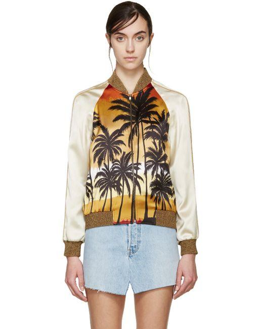 Saint Laurent   5568 Print Multicolor Palm Tree Bomber Jacket