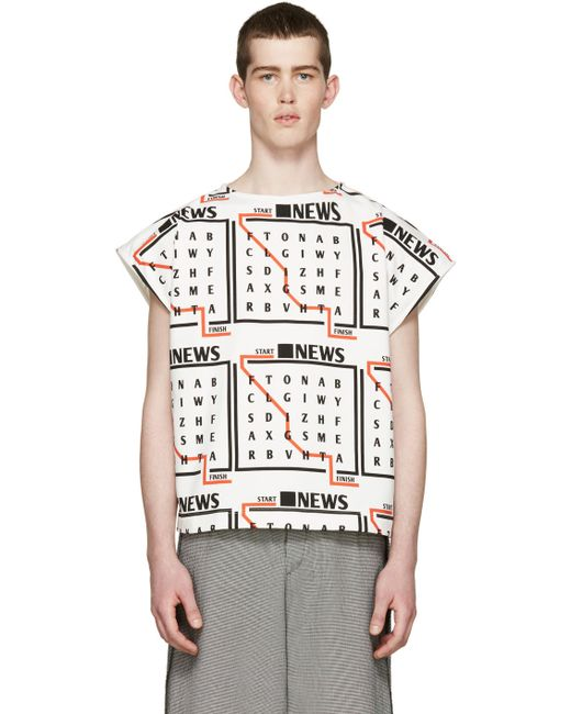 J.W. Anderson | Мужское Белый J.W.Anderson Tricolor News Text T-Shirt