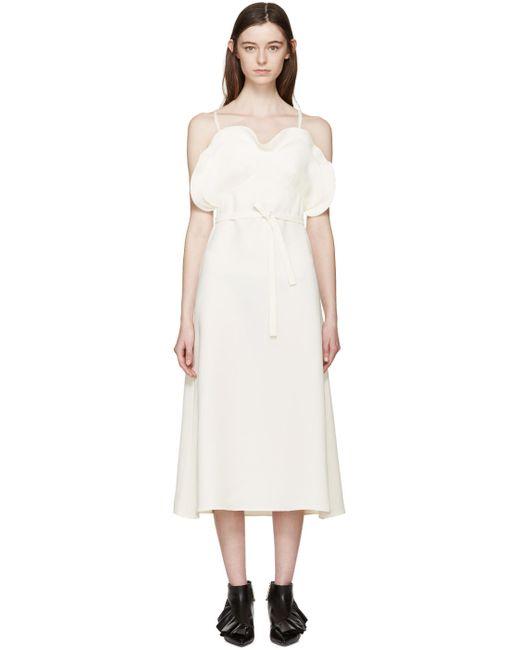 J.W. Anderson | Белый J.W.Anderson Ecru Crepe Ruffled Dress