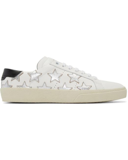 Saint Laurent | Белый White And Silver Stars Court Classic Sneakers