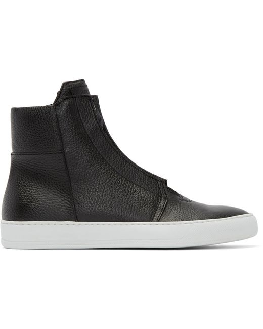 Helmut Lang | Чёрный Black Leather High-Top Sneakers