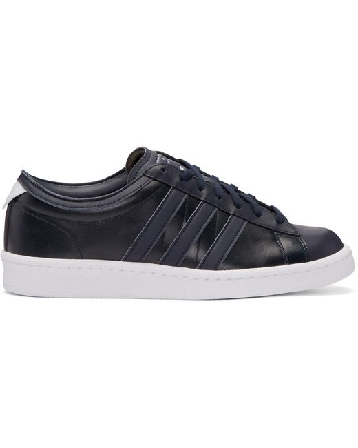 ADIDAS ORIGINALS BY WHITE MOUNTAINEERING   Night Navy Black Leather Spgr Edition Sneakers